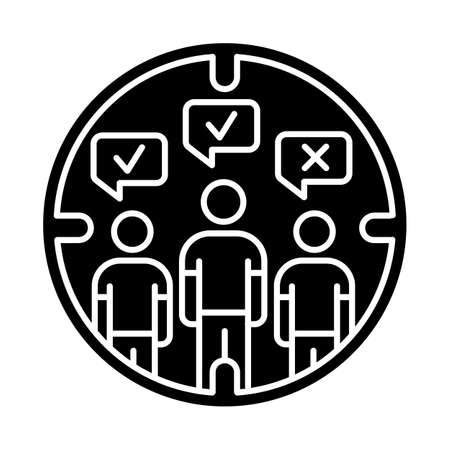 Survey target audience glyph icon. Public opinion. Focus group. Research. Customer satisfaction, review. Feedback. Sampling. Silhouette symbol. Negative space. Vector isolated illustration