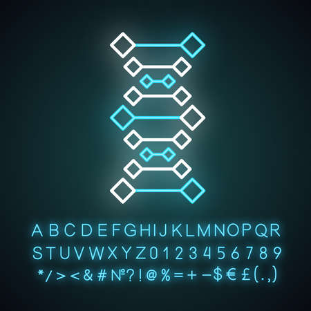 DNA chains neon light icon. Deoxyribonucleic, nucleic acid helix. Molecular biology. Genetic code. Genetics. Medicine. Glowing sign with alphabet, numbers and symbols. Vector isolated illustration
