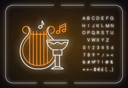 Ancient culture and life neon light icon. Harp melody. Goblet for wine. Greek old artifacts. Archeological discoveries. Glowing sign with alphabet, numbers and symbols. Vector isolated illustration Vektoros illusztráció