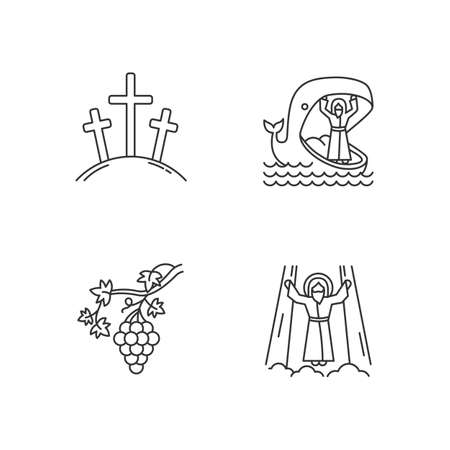Bible narratives linear icons set. Calvary, Jonah and whale, grapevine, ascension of Jesus Christ. Christian stories. Thin line contour symbols. Isolated vector outline illustrations. Editable stroke Иллюстрация
