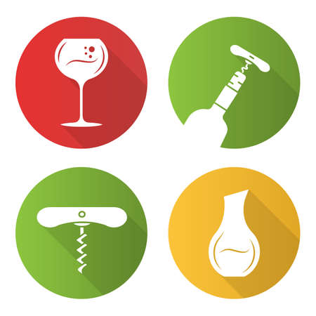 Wine service flat design long shadow glyph icons set. Winery, tableware, glassware. Decanter, wine glass, corkscrew. Pub, bar, restaurant barman tool. Vector silhouette illustration