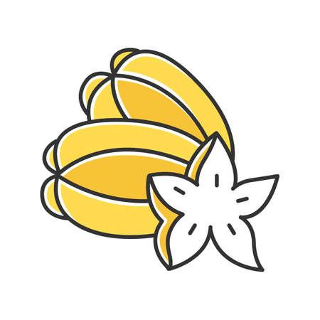 Icona di colore giallo della frutta della stella. pezzo di carambola. Alla scoperta delle specialità gastronomiche locali. Viaggio in Indonesia. Frutta dal gusto unico. Mela stellata asiatica. Pianta tropicale esotica. Illustrazione vettoriale isolato