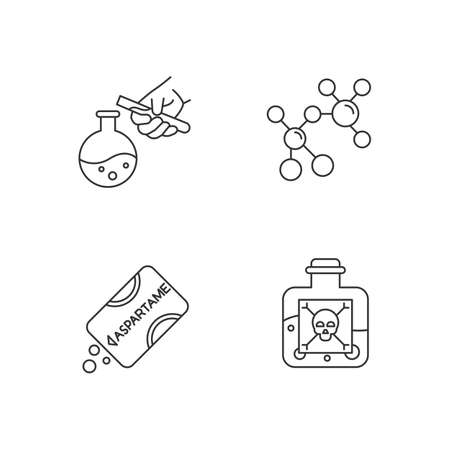 Science development linear icons set. Biotechnologies products. Work in lab. Producing chemicals. Organic chemistry. Thin line contour symbols. Isolated vector outline illustrations. Editable stroke