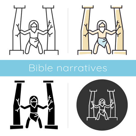 Samson Bible story icon. Last of judge. Strong powerful superhuman. Religious legend. Christian religion. Biblical narrative. Glyph, chalk, linear and color styles. Isolated vector illustrations Illustration