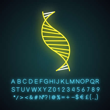 DNA spiral strand neon light icon. Deoxyribonucleic, nucleic acid helix. Molecular biology. Genetic code. Genetics. Glowing sign with alphabet, numbers and symbols. Vector isolated illustration