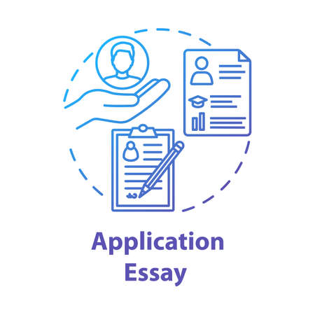 Application essay concept icon. Personal statement. Summary and curriculum vitae. Individual characteristics idea thin line illustration. Vector isolated outline drawing Illustration