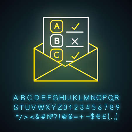 Email survey neon light icon. Public opinion. Research. Consumer review. Customer satisfaction. Feedback. Evaluation. Glowing sign with alphabet, numbers and symbols. Vector isolated illustration  イラスト・ベクター素材