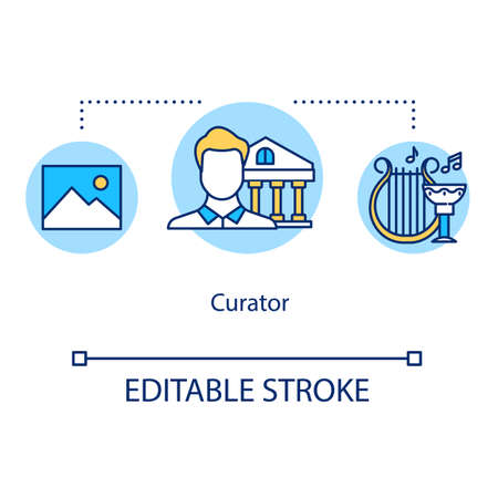 Curator concept icon. Gallery overseer. Archives manager. Historical institution keeper. Museum manager idea thin line illustration. Vector isolated outline drawing. Editable stroke