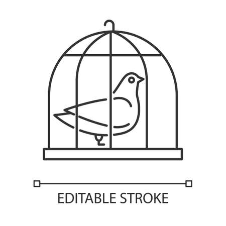 Pigeon in cage linear icon. Captive bird. Harbinger of peace. Nightingale in captivity. Symbol of purity. Thin line illustration. Contour symbol. Vector isolated outline drawing. Editable stroke Ilustração