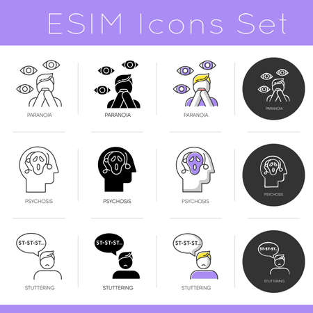 Mental disorder icons set. Paranoia and phobia. Psychosis and schizophrenia. Stuttering. Speech problem. Psychiatry. Flat design, linear, black and color styles. Isolated vector illustrations