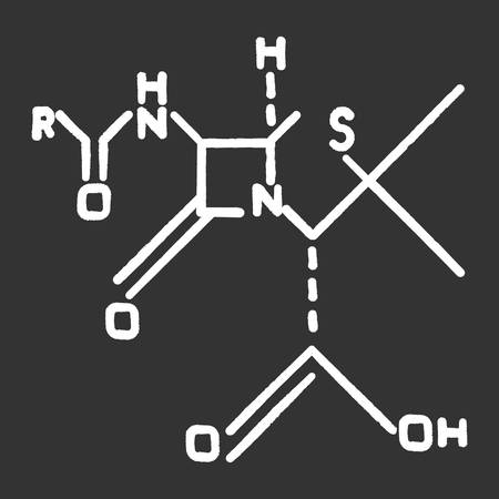 Chemical molecular formula black chalk icon. Bonding arrangement of atoms within molecules. Organic chemistry scheme. Chemical bond. Compounds of element. Isolated vector chalkboard illustration