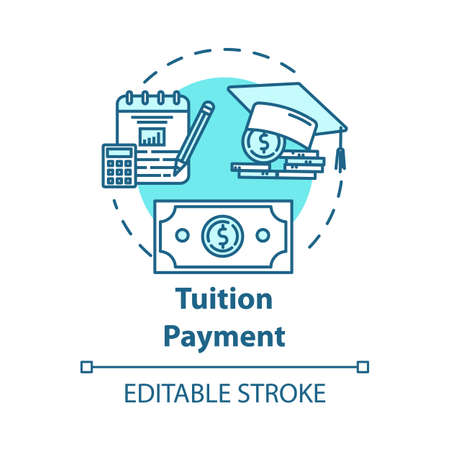 Tuition payment concept icon. Education cost. Financial grant. Knowledge investment. Counting college savings fund idea thin line illustration. Vector isolated outline drawing. Editable stroke
