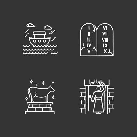 Bible narratives chalk icons set. The passover, the flood myths, ten commandments. Religious legends. Christian religion, holy book scenes. Biblical stories. Isolated vector chalkboard illustrations Vektorové ilustrace