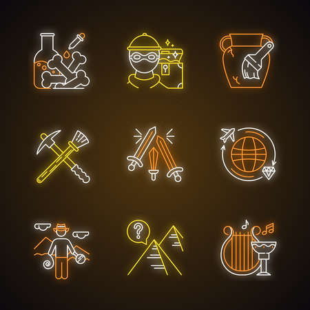 Archeology neon light icons set. Lab research. Marauding. Artifact restoration equipment. Sword fight. Treasure hunt. Researcher. Pyramid. Ancient culture. Glowing signs. Vector isolated illustrations