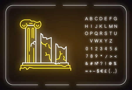 Ancient ruins neon light icon. Broken columns. Greek pillars. Lost civilizations. Archeology. Historical monuments. Glowing sign with alphabet, numbers and symbols. Vector isolated illustration