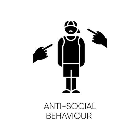 Anti-social behaviour glyph icon. Harassment and bullying. Teenager depression. Agressive public. Anxiety, loneliness. Mental disorder. Silhouette symbol. Negative space. Vector isolated illustration Vettoriali