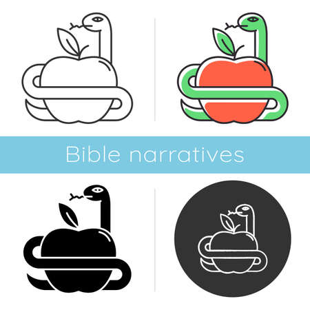 Adam and Eve Bible story icon. Forbidden fruit. Snake and apple. Religious legends. Christian religion. Biblical narratives. Glyph, chalk, linear and color styles. Isolated vector illustrations Illustration
