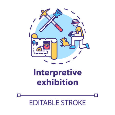 Interpretive exhibition concept icon. Archeology and anthropology. Ancient history. Interactive museum exposition idea thin line illustration. Vector isolated outline drawing. Editable stroke