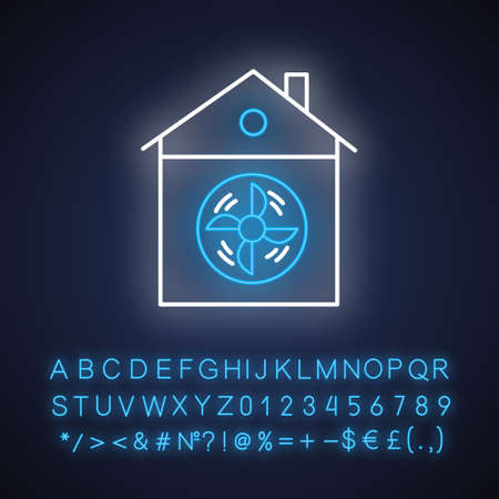 House ventilation neon light icon. Conditioning home. Clean germs and microbes. Dust ventilation system. Glowing sign with alphabet, numbers and symbols. Vector isolated illustration