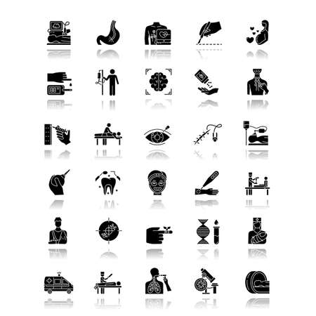 Medical procedure drop shadow black glyph icons set. Surgery. Endoscopy. Health care. Brain scan. First emergency aid. Blood test. Injury. Vision correction. Pediatrics. Isolated vector illustrations
