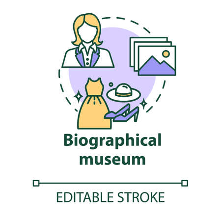 Biographical museum concept icon. Cultural materials exposition. Clothes, belongings. Famous person history exhibition idea thin line illustration. Vector isolated outline drawing. Editable stroke
