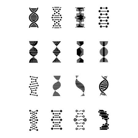 DNA helix glyph icons set. Deoxyribonucleic, nucleic acid structure. Spiraling strands. Chromosome. Molecular biology. Genetic code. Genome. Genetics. Silhouette symbols. Vector isolated illustration