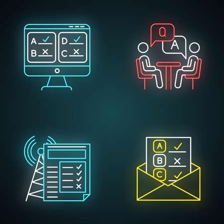 Survey methods neon light icons set. Online, email, internet connection poll. Interview. Public opinion. Customer review. Feedback. Data collection. Glowing signs. Vector isolated illustrations  イラスト・ベクター素材