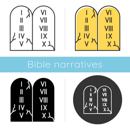 Ten Commandments Bible story icon. Biblical laws written on stone tablets. Religious legend. Holy book narrative, sacred scene. Glyph, chalk, linear and color styles. Isolated vector illustrations