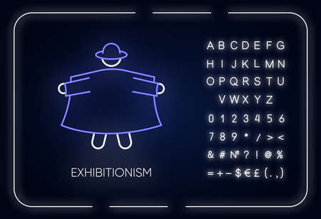 Exhibitionism neon light icon. Glowing sign with alphabet, numbers and symbols. Vector isolated illustration