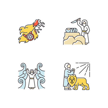 Bible narratives color icons set. Chariot of fire, binding of Isaac myths. Religious legends. Christian religion, holy book scenes plot. Biblical stories. Isolated vector illustrations Stock Illustratie