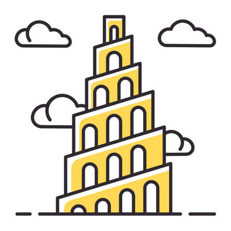 Babel Tower Bible story color icon. Ziggurat. High structure in Babylonia. Religious legend. Christian religion, holy book scene plot. Biblical narrative. Isolated vector illustration