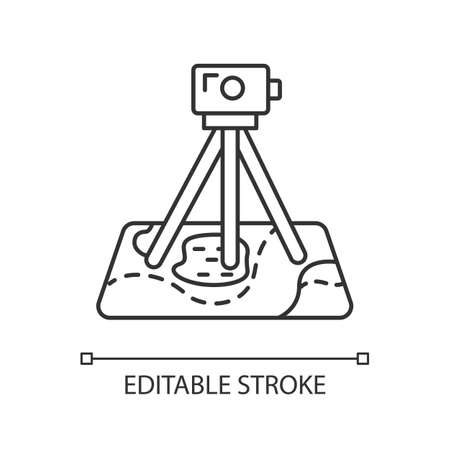 Field survey linear icon. Research equipment. Archeological examination. Digital tool on map. Topographic data. Thin line illustration. Contour symbol. Vector isolated outline drawing. Editable stroke