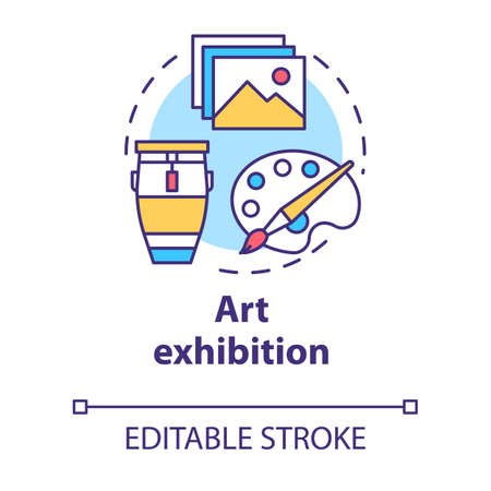 Art exhibition concept icon. Drawing and paintings exposition. Cultural piece. Artwork showcase. Gallery exposition idea thin line illustration. Vector isolated outline drawing. Editable stroke