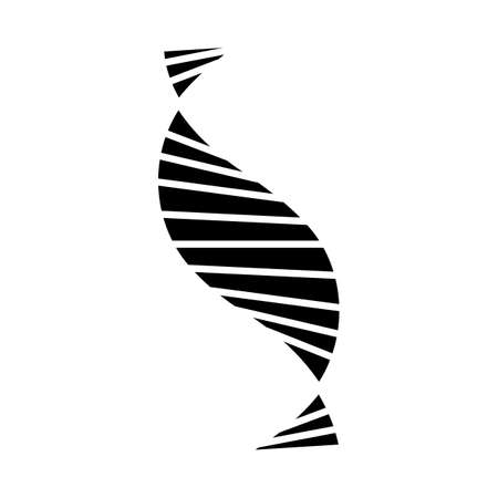 DNA spiral strand glyph icon. Deoxyribonucleic, nucleic acid helix stripes. Chromosome. Molecular biology. Genetic code. Genetics. Silhouette symbol. Negative space. Vector isolated illustration