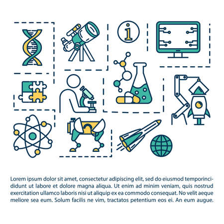 Science fair concept icon with text. Chemistry research. University laboratory. College study. Article page vector template. Brochure, magazine, booklet design element with linear illustrations