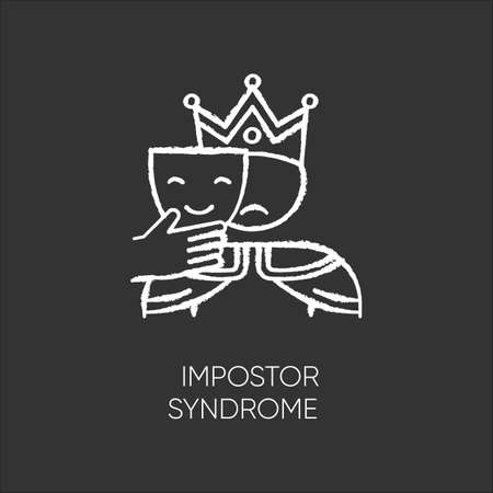 Impostor syndrome chalk icon. Sad man with smile mask. Fraud, doubt. Impostorism experience. Hypocrisy. Jester disguise. Psychological problem. Mental issue. Isolated vector chalkboard illustration