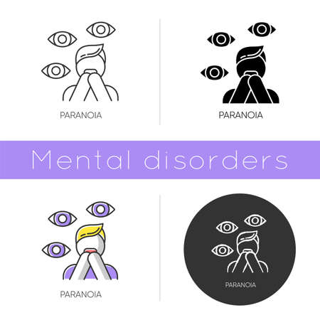 Paranoia icon. Panic attack. Fear and phobia. Terrified man. Stress and anxiety. Delusion and irrationality. Mental disorder. Flat design, linear and color styles. Isolated vector illustrations