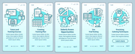 University entrance onboarding mobile app page screen vector template. Tutors and courses. Walkthrough website steps with linear illustrations. UX, UI, GUI smartphone interface concept