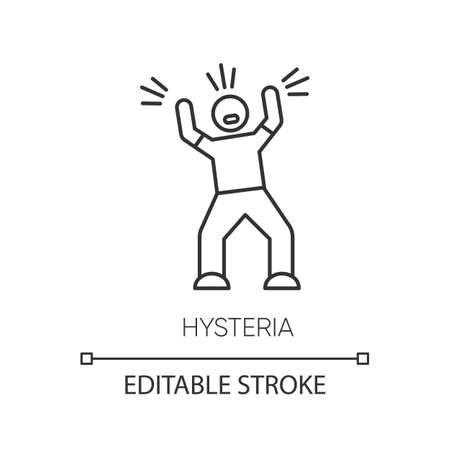 Hysteria linear icon. Person screaming. Man shouting. Rage and frustration. Irritability. Mental disorder. Thin line illustration. Contour symbol. Vector isolated outline drawing. Editable stroke  イラスト・ベクター素材