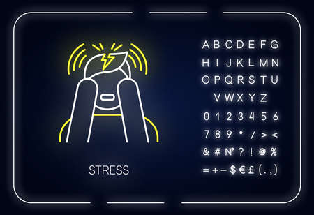 Stress neon light icon. Anxiety and panic attack. Emotional problem. Distress. Migraine and headache. Mental disorder. Glowing sign with alphabet, numbers and symbols. Vector isolated illustration Illustration