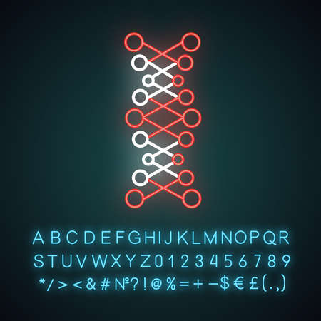 DNA double helix neon light icon. Connected dots, lines. Deoxyribonucleic, nucleic acid. Molecular biology. Genetic code. Glowing sign with alphabet, numbers and symbols. Vector isolated illustration