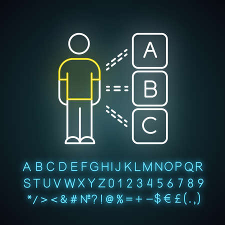 Personal survey neon light icon. Select option. Question and answer. Psychological test. Personality evaluation. Glowing sign with alphabet, numbers and symbols. Vector isolated illustration