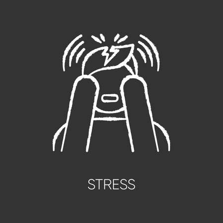 Stress chalk icon. Anxiety and panic attack. Emotional problem. Distress. Migraine, headache. Upset person. Worried man. Psychological issue. Mental disorder. Isolated vector chalkboard illustration
