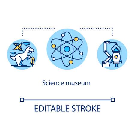 Icono de concepto de museo de ciencia. Desarrollo de biotecnología y tecnología. Investigación de laboratorio. Ilustración de línea fina de idea de exposición educativa. Dibujo de contorno aislado del vector. Trazo editable Ilustración de vector