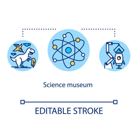 Science museum concept icon. Biotechnology and technology development. Laboratory research. Educational exposition idea thin line illustration. Vector isolated outline drawing. Editable stroke
