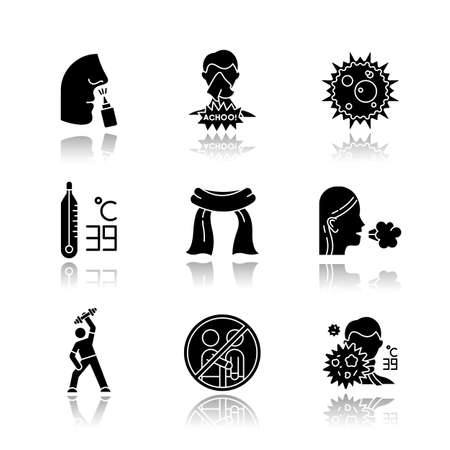 Common cold drop shadow black glyph icons set. Drip nose. Girl coughing. Influenza virus. Thermometer. Neckscarf. Exercise, sport. Avoid contact. Fever symptom. Isolated vector illustrations