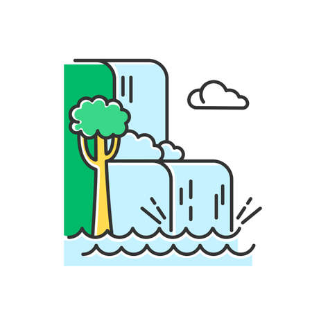 Waterfall landscape color icon. Vacation trip to Indonesia. Hidden treasures of Bali. Tropical jungle rivers. Water cascade in rainforest. Discovering world wonders. Isolated vector illustration