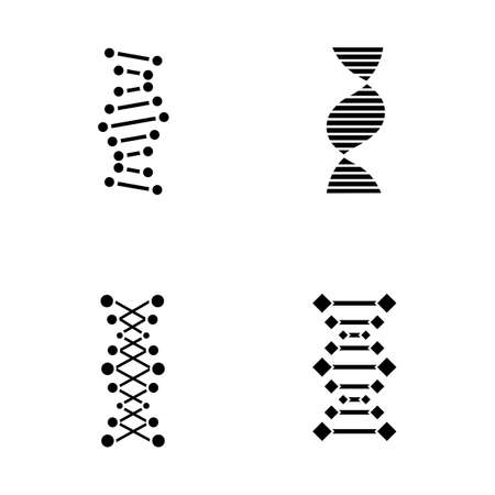 DNA chains glyph icons set. Deoxyribonucleic, nucleic acid helix. Spiraling strands. Chromosome. Molecular biology. Genetic code. Genome. Genetics. Silhouette symbols. Vector isolated illustration