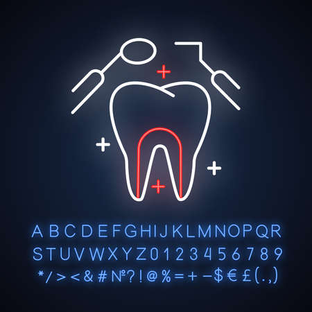 Dental care neon light icon. Medical procedures. Dentistry. Tooth examination. Caries prevention. Toothache checkup. Glowing sign with alphabet, numbers and symbols. Vector isolated illustration