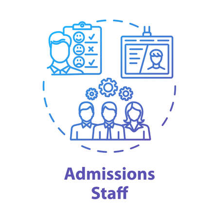 Admission staff concept icon. Employment service. HR management. Selection committee. Headhunting, recruitment idea thin line illustration. Vector isolated outline drawing